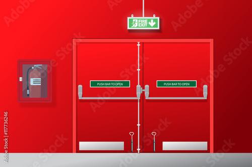 Fotografija Fire exit door vector flat design.