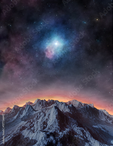 Poster Bleu nuit Distant exoplanet