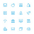 Banking blue line icons