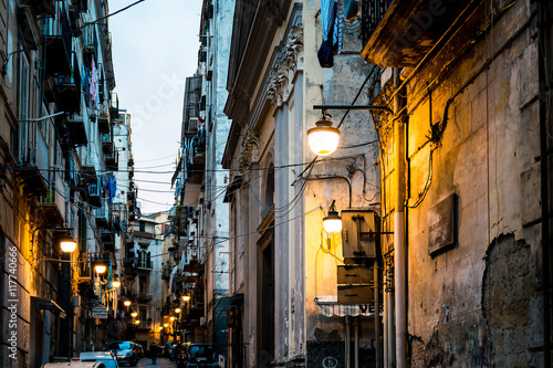 Photo sur Toile Naples NAPLES, ITALY - January 16, 2016 : Street view of old town in Na