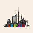 Leipzig Skyline Schattenriss Denkmäler Kultur Sehenwürdigkeiten Wandtatoo
