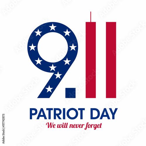 Fotografia  Patriot Day poster. We will never forget, September 11