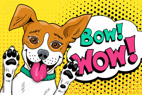 Bow Wow Pop Art Dog Funny Hy Surprised With Open Mouth Rising His Paws