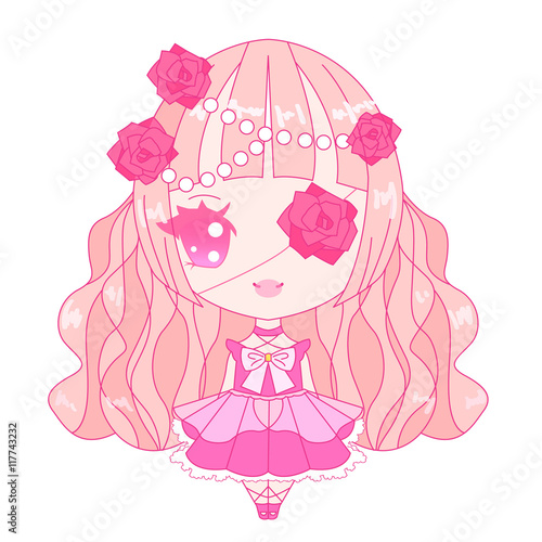 Photo  Pink chibi lolita character