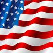 Waving USA flag. Independence day. Vector illustration