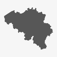 Belgium Map In Gray On A White...