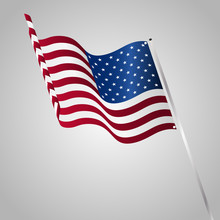 Vector Illustration Of A Waving US Flag Fasten On A Flag Pole