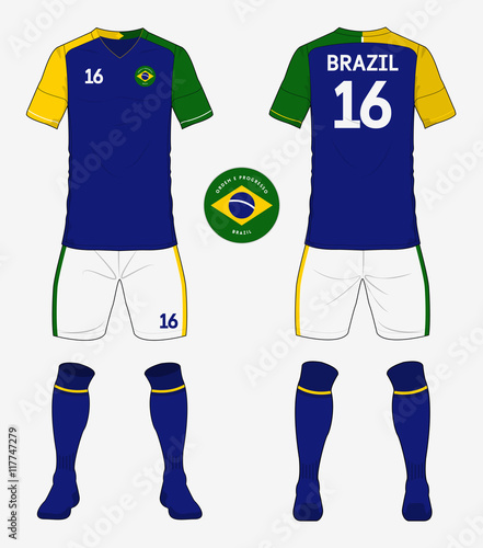 7836cbec3e0 Set of Brazil soccer kit or football jersey template for football club.  Front and back view soccer uniform. Football apparel mock up. Vector ...  See More