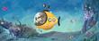 niño y perro en submarino en el mar