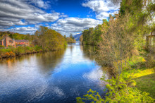 River Oich Fort Augustus Scotland UK Next To Loch Ness In Colourful HDR