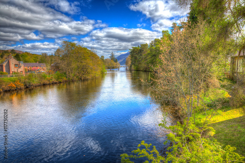 River Oich Fort Augustus Scotland UK next to Loch Ness in colourful HDR Wallpaper Mural