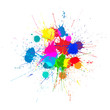 Vector Bright Ink Color Blots on the white background