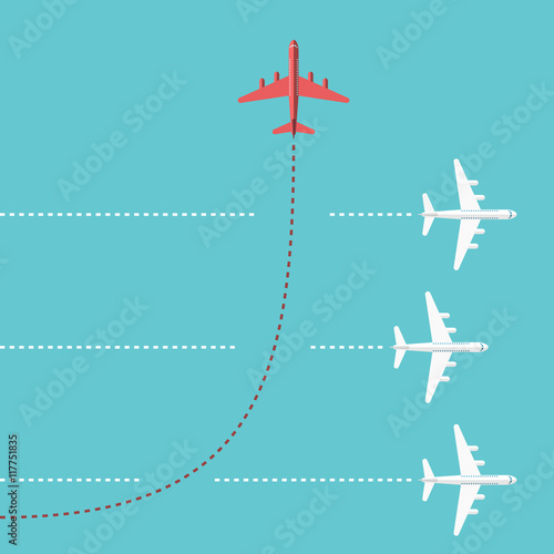 Fotografie, Obraz  Red airplane changing direction