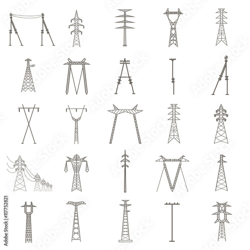 Valokuva  High voltage electric line pylon. Icon set suitable for creating