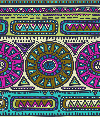 Cotton fabric Vector seamless pattern for tribal design. Ethnic motif.