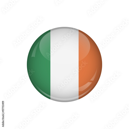 Flag of Ireland. A round button with a glare. Round Flag emblem. Poster