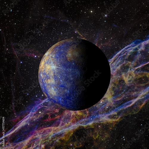 Fotografie, Obraz  Solar system planet Mercury on nebula background 3d rendering