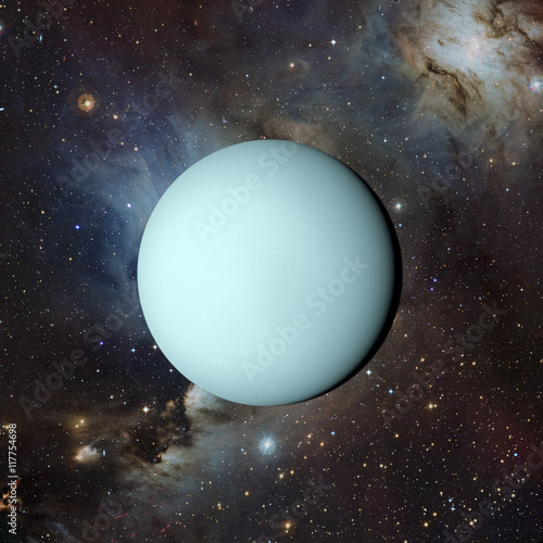 Plakat  Solar system planet Uranus on nebula background 3d rendering