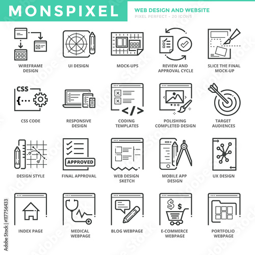 Photo  Flat thin line Icons set of Web Design and Websites
