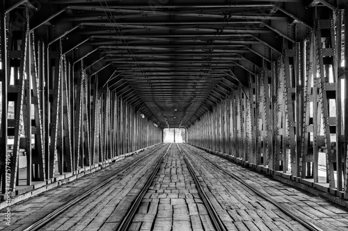 Tram rails on a bridge in Warsaw