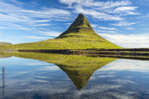 Door stickers Reflection Triangle rock reflecting in water in Iceland