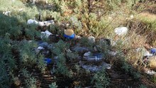 Litter And Trash Strewn Along The Side Of A Road