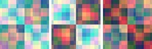 Set Of Seamless Checkered Pattern. Vector Illustration. Multicolor Abstract Background. Colorful Fashion Design.