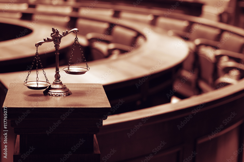 Fototapeta Decorative Scales of Justice in the Courtroom