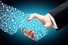 Digital Handshake On Blue Background