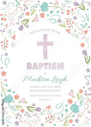 Baptism, Christening, First Communion Card Invitation Template with abstract flo Fototapete