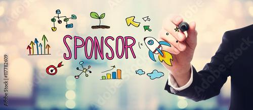 Fotografie, Obraz  Businessman drawing Sponsor concept