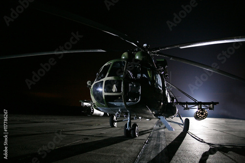 obraz dibond Russian military helicopters, night
