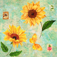 FototapetaRetro seamless pattern with watercolor sunflowers and stamps