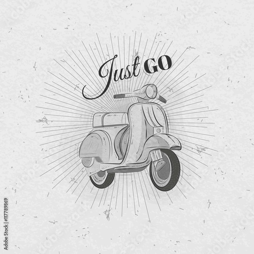 Photo  Hand drawn retro motorbike