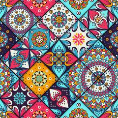 Panel Szklany Podświetlane Mozaika Ethnic floral seamless pattern