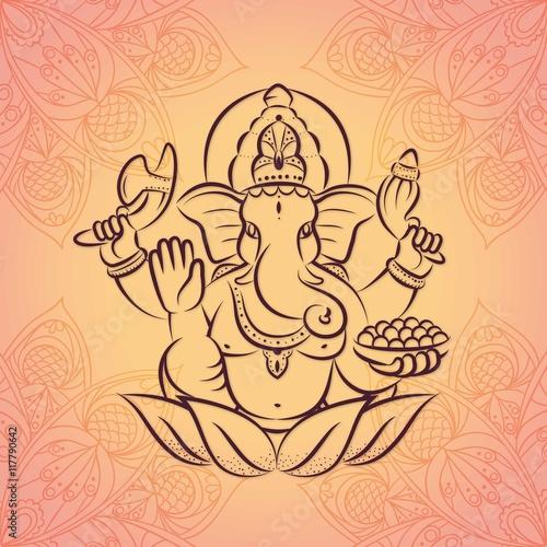 Hand drawn ganesha background Fototapeta