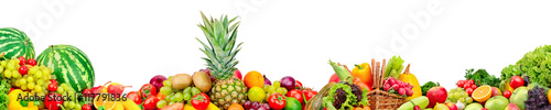 Poster Verse groenten Panoramic collection of fruits and vegetables for skinali