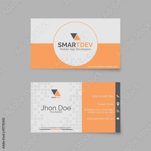 Fotografie, Obraz  Business card template in orange and grey tones