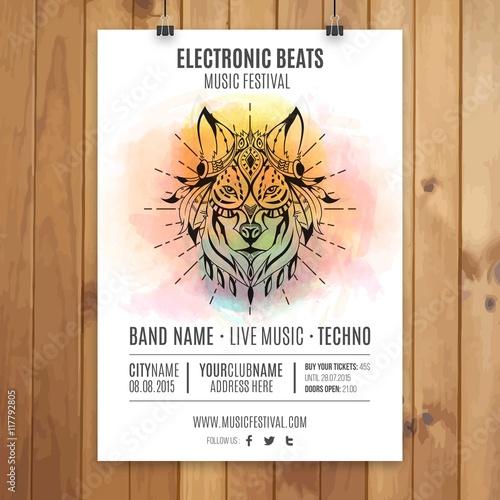 Elektroniczny plakat imprezowy z ręcznie malowanym wilkiem