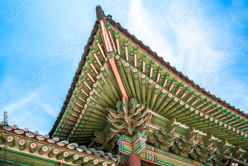 Details of Traditional Korean Roofing Architecture Poster
