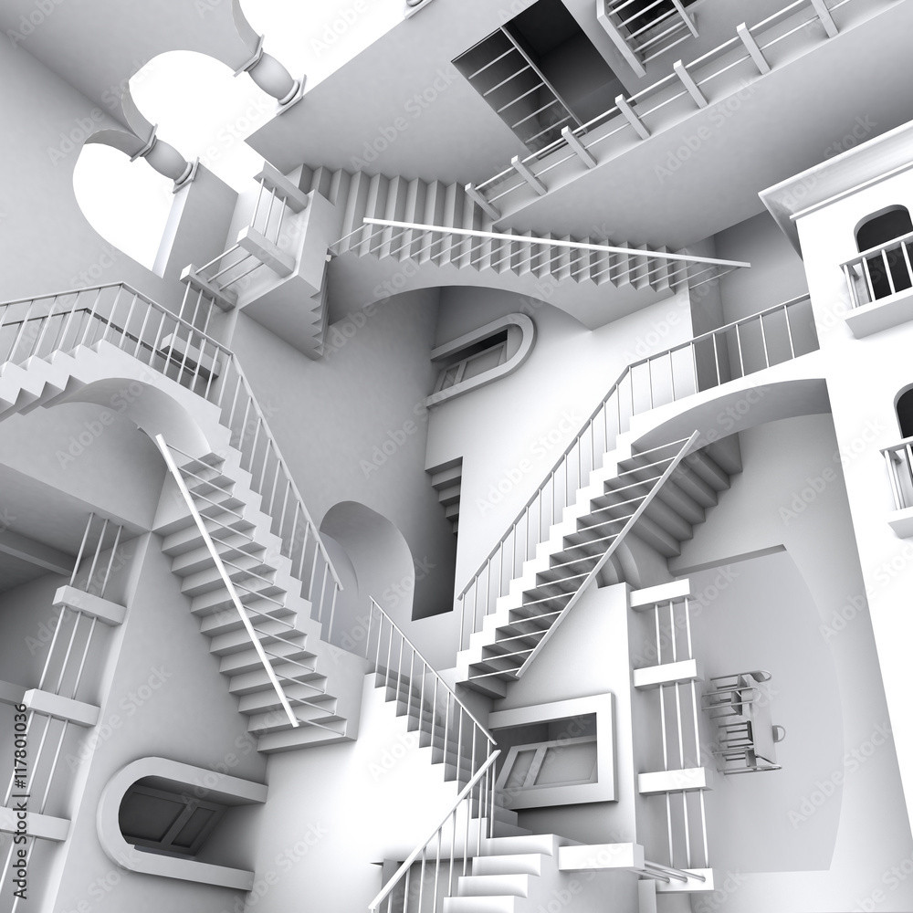 Fototapety, obrazy: 3D illustration of Escher's inspired stairs