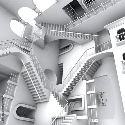 3D illustration of Escher's inspired stairs Fototapete
