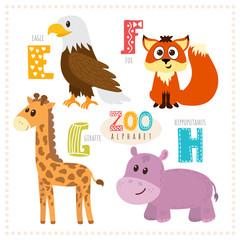 Cute cartoon animals. Zoo alphabet with funny animals. E, f, g,
