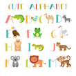 Zoo. Cute cartoon animals alphabet from A to M