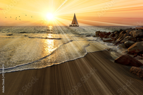 Stickers pour portes Voile Sailboat Sunset