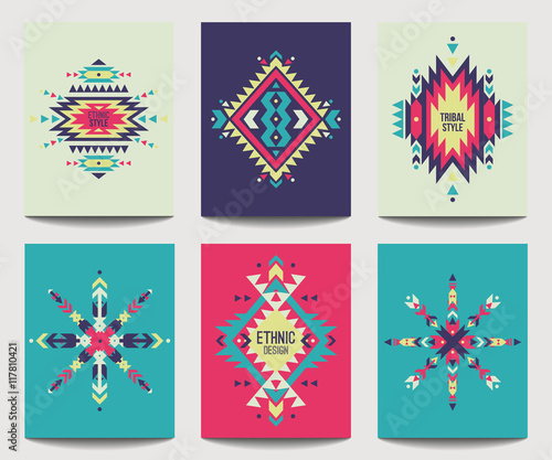 Foto auf AluDibond Boho-Stil Vector set of geometric abstract colorful flyers. Ethnic design brochure templates. Modern tribal backgrounds in boho style.