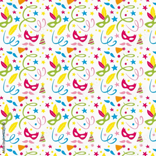 Cotton fabric Colourful masks and confetti pattern
