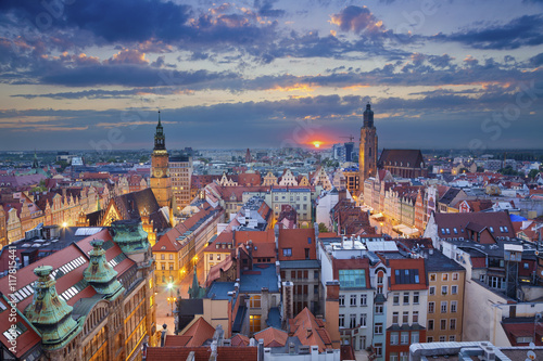 obraz dibond Wroclaw. Image of Wroclaw, Poland during twilight blue hour.