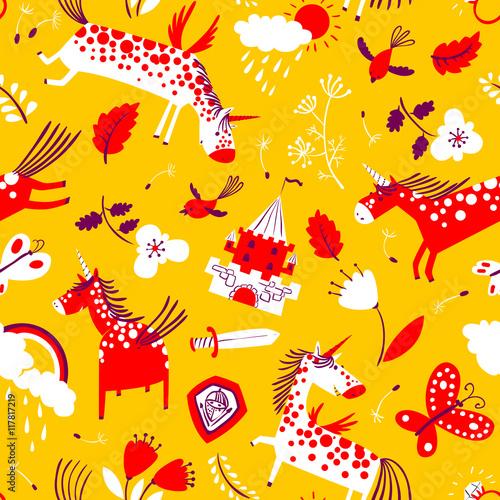 Cotton fabric Vector cute seamless pattern with magic unicorns.