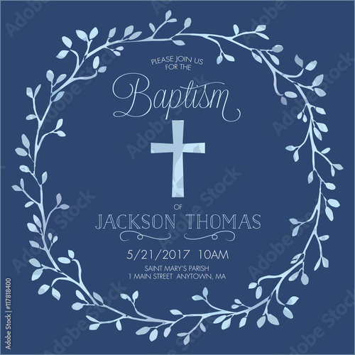 Fotografía Blue Boy's Baptism/Christening/First Communion/Confirmation Invitation with Wate